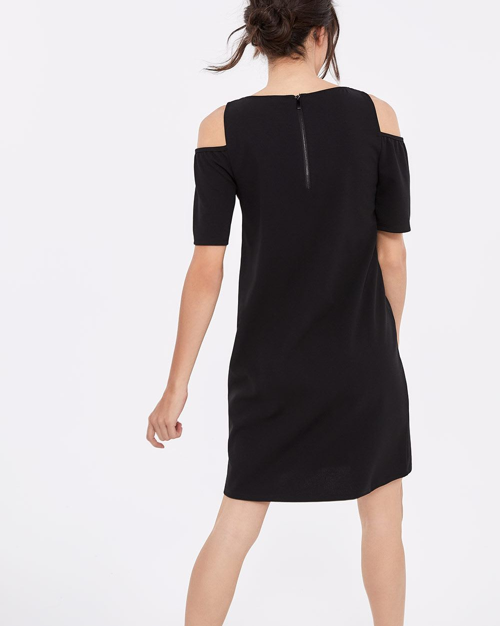 Cold-Shoulder Solid Dress