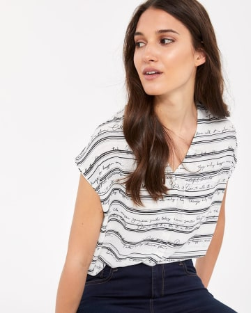 Square Pocket Printed Top