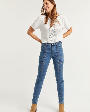 High Rise Cargo Jeans - Tall