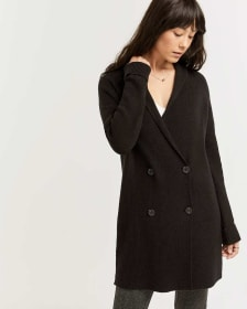 Cotton-Blend Double-Breasted Long Cardigan