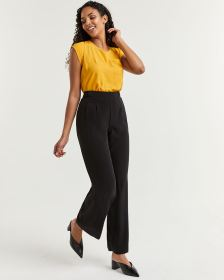Wide Leg Pull On Black Pants
