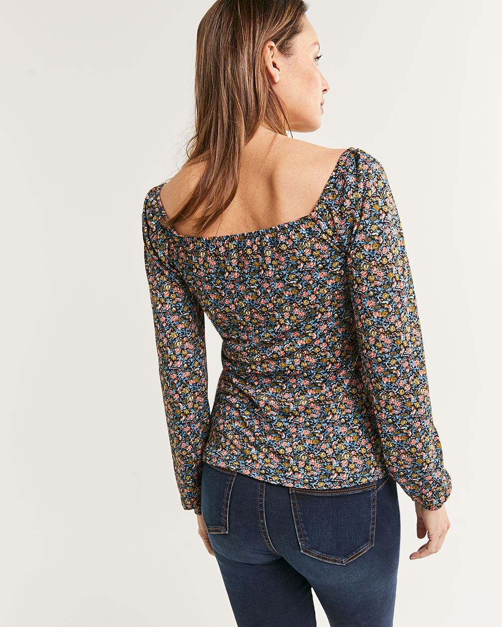 Long Bubble Sleeve Square Neck Floral Top