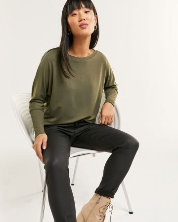 Long Sleeve Boat Neck French Terry Tee
