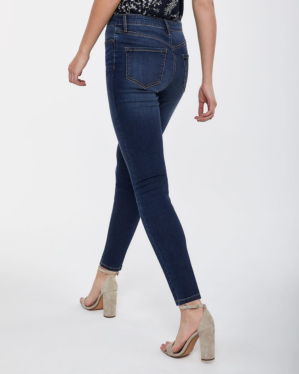 Button Fly High Rise Skinny Jeans - Petite