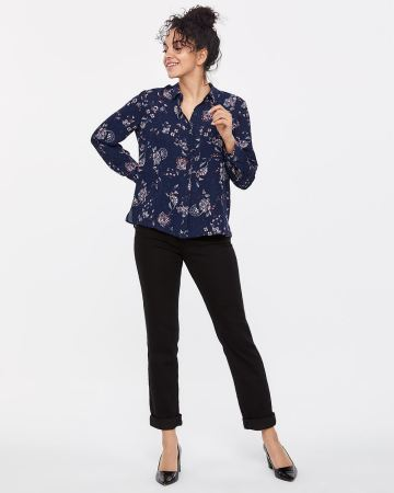 Petite Long Sleeve Crepe Shirt
