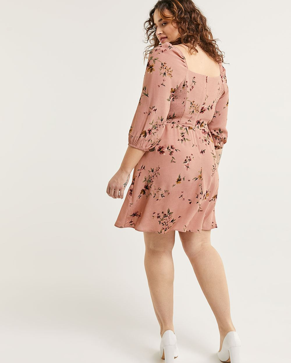 3/4 Sleeve Floral Print Fit & Flare Dress