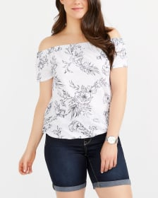 Off-The-Shoulder Floral Blouse