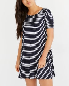Reversible Cross Detail Striped Dress