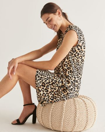 Leopard Print Shift Dress with Pleats