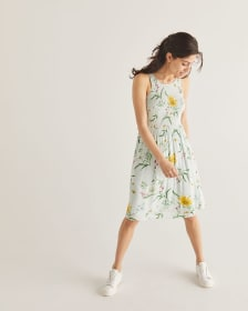 Floral Printed Fit & Flare Smocked Dress