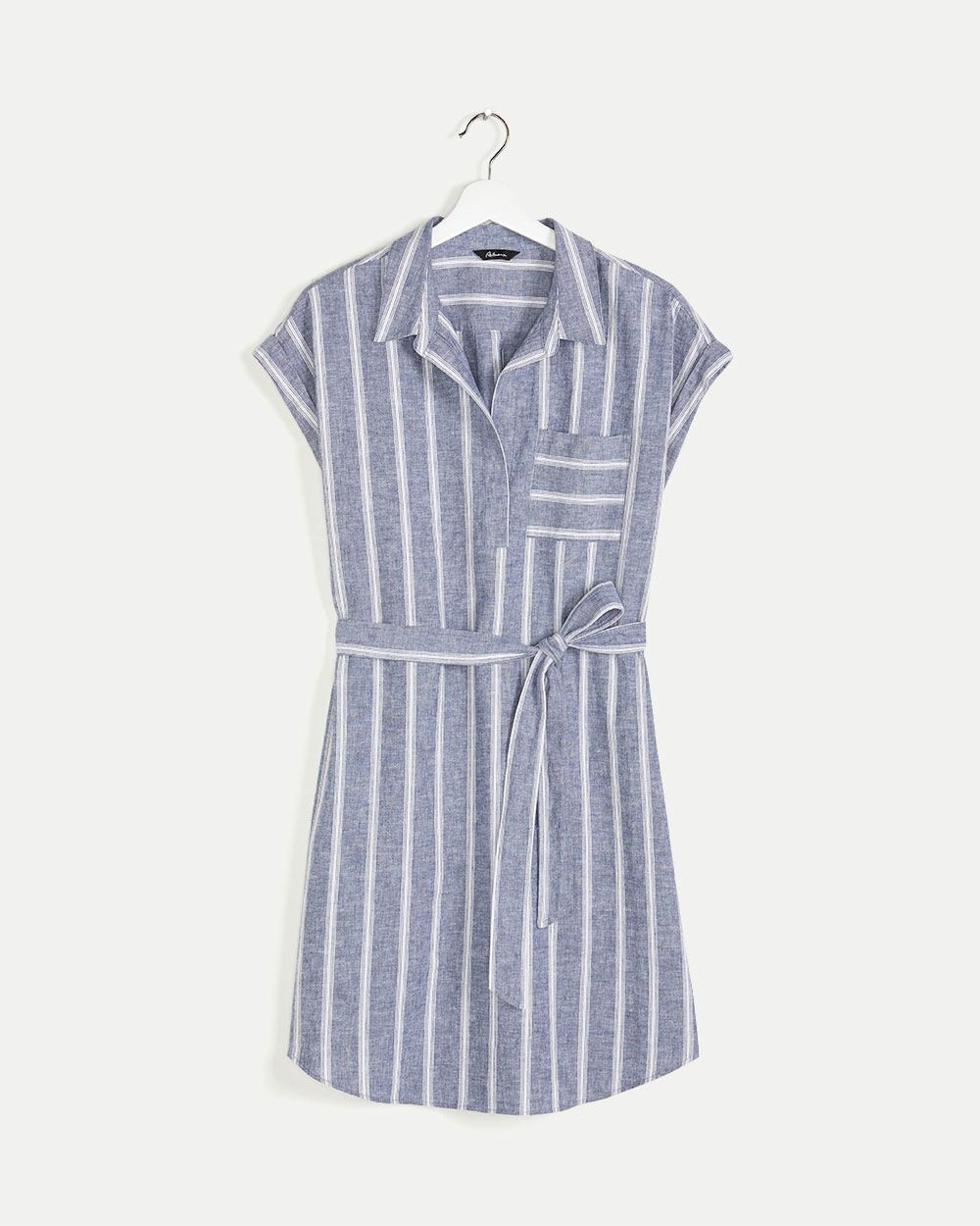 Linen and Cotton Blend Striped Shirt Dress with Sash
