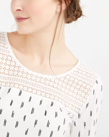 Crochet Yoke Printed Top