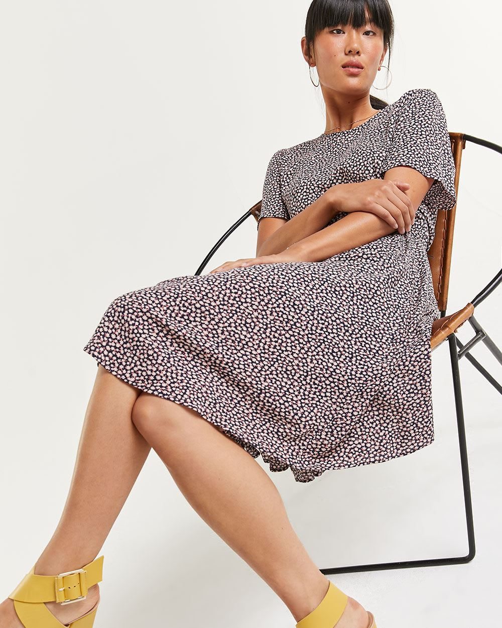Short Sleeve Printed Midi Dress with Sash