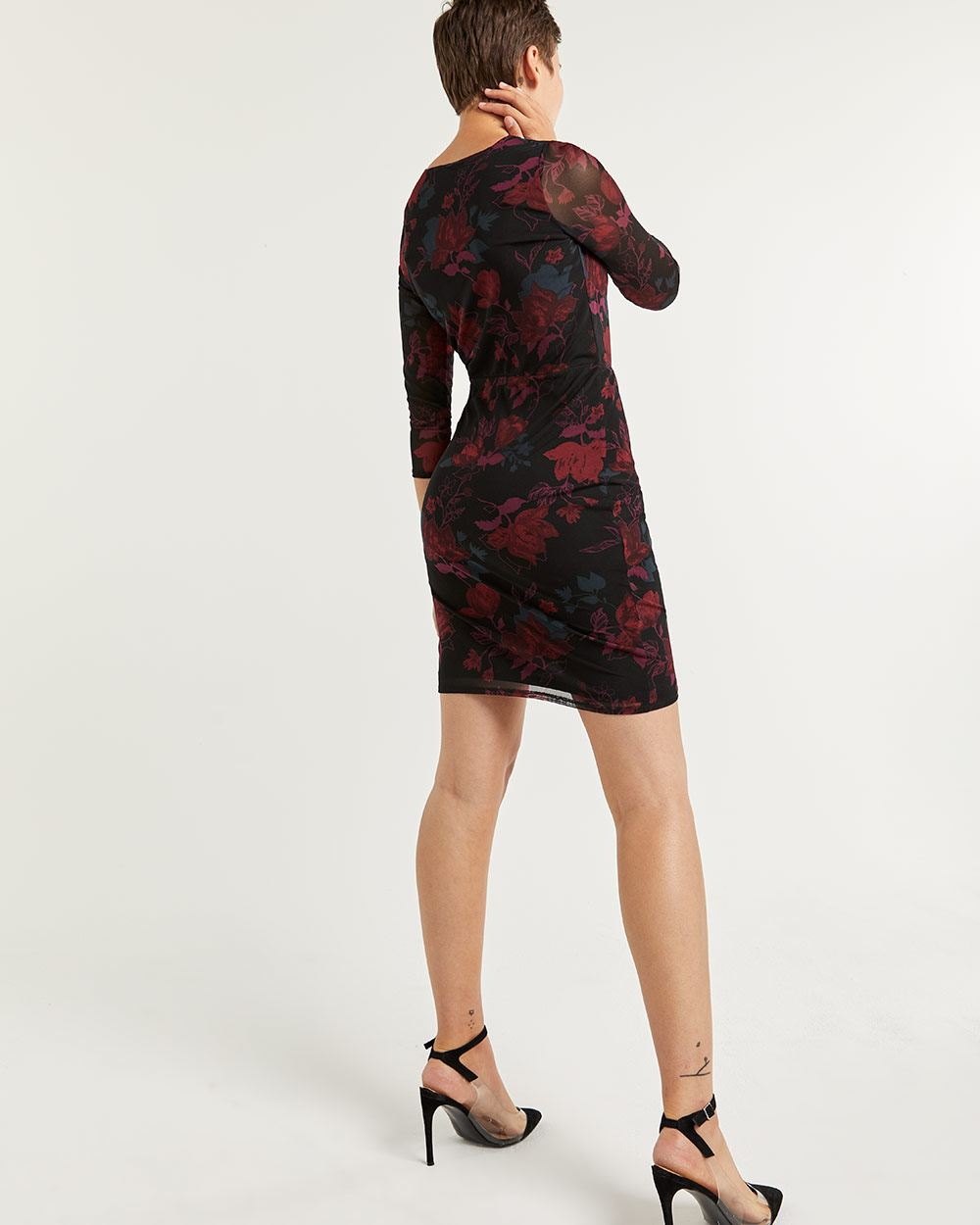 Long Sleeve Printed Mesh Bodycon Dress