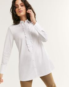 Long Sleeve Poplin Shirt with Ruffles