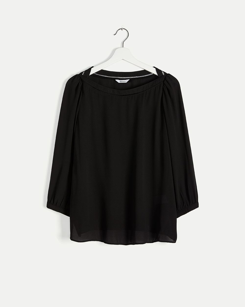 3/4 Sleeve Boat Neck Blouse with Fagoting