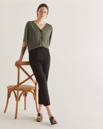 Black Slim Pull On Ankle Pants