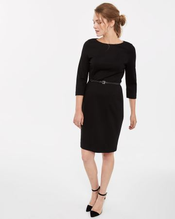 3/4 Sleeve Belted Dress