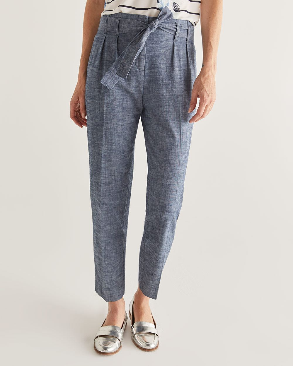 Slim Leg Paperbag Chambray Pants - Petite