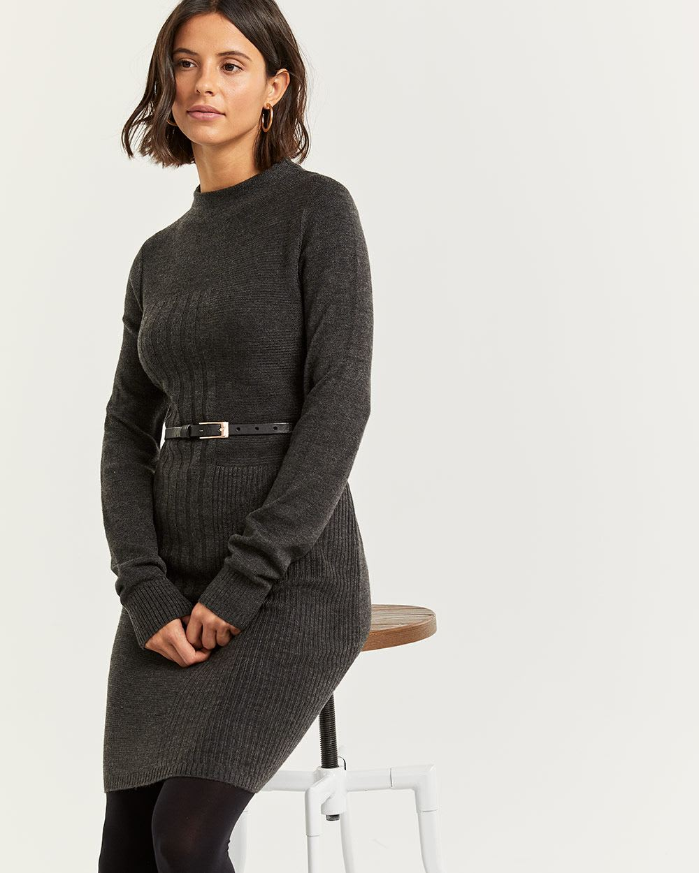Mock Neck Bodycon Sweater Dress