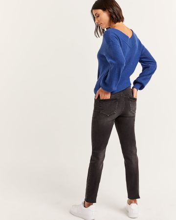 Black Wash Skinny Jeans with Button Fly - Tall