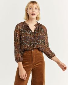 Floral Printed Ruffle Neck Chiffon Blouse