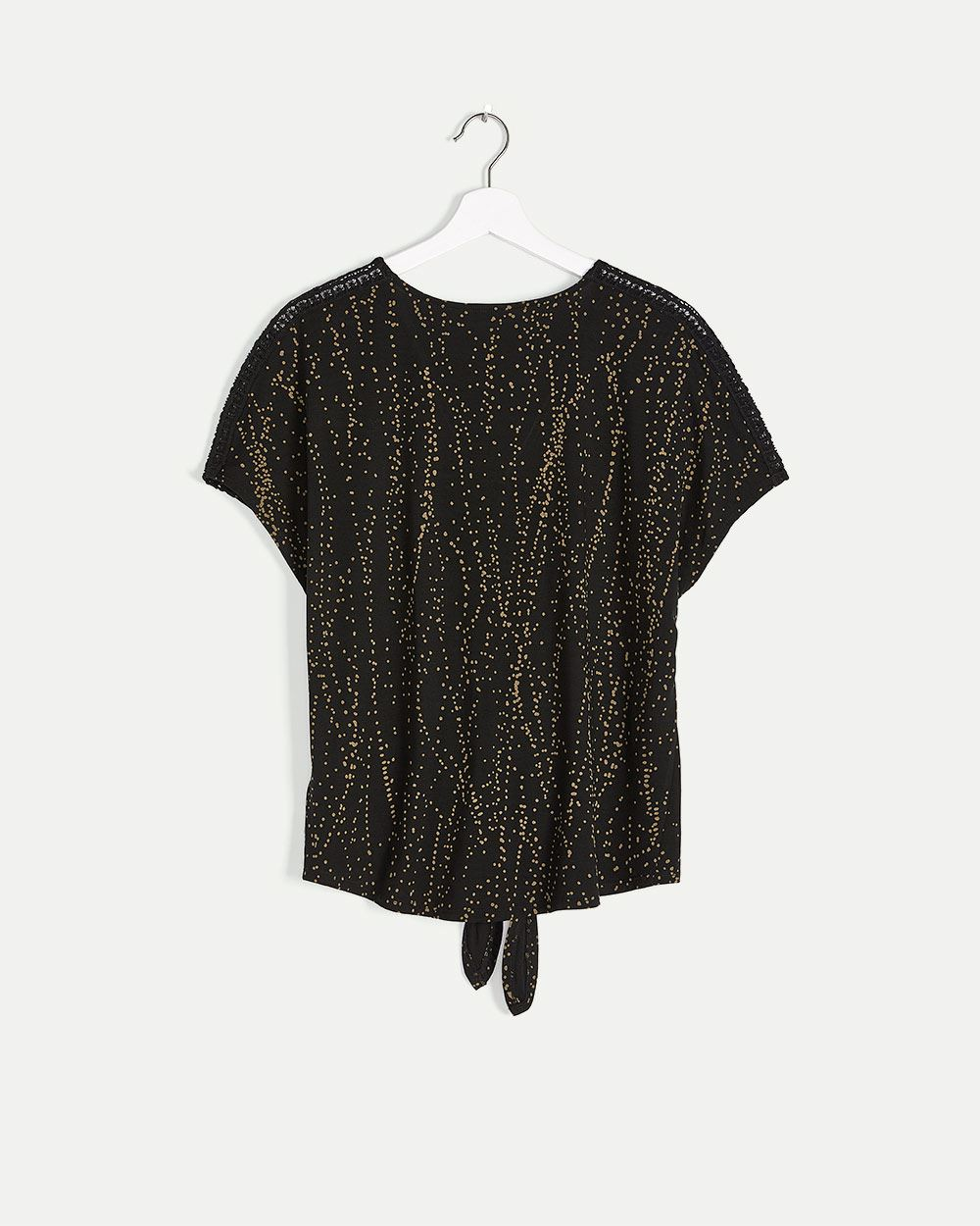 Front Knot Printed Tee with Crochet Inserts