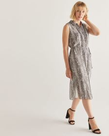Snake Print Sleeveless Shirt Dress