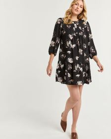Drop Flounce Floral Print Dress