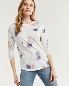 3/4 Sleeve Printed Tee with Buttons at Shoulders