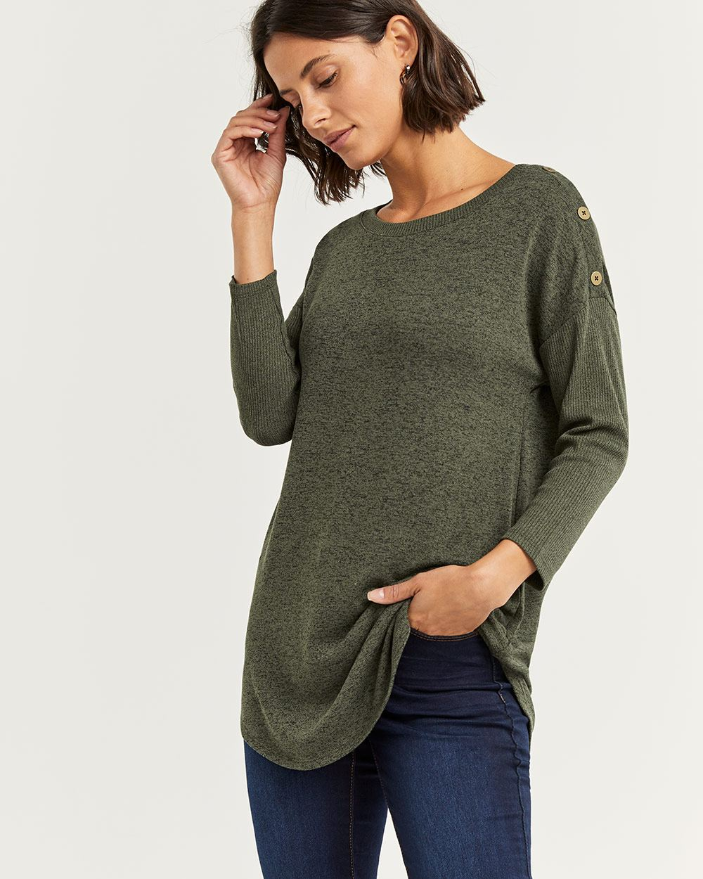 3/4 Sleeve Tee with Buttons at Shoulders