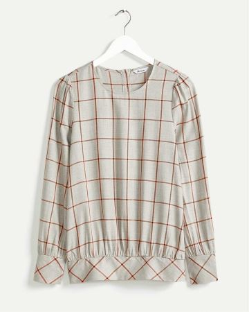 Long Sleeve Plaid Blouse with Smocking Details