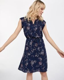 Printed Crepe Dress with Pintucks