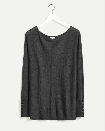 Long Dolman Sleeve Boat Neck Sweater with Buttoned Cuffs