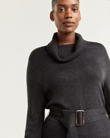 Belted Bodycon Sweater Dress with Turtleneck