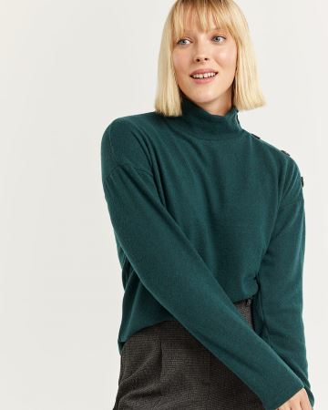 Long Sleeve Mock Neck Tee with Buttons