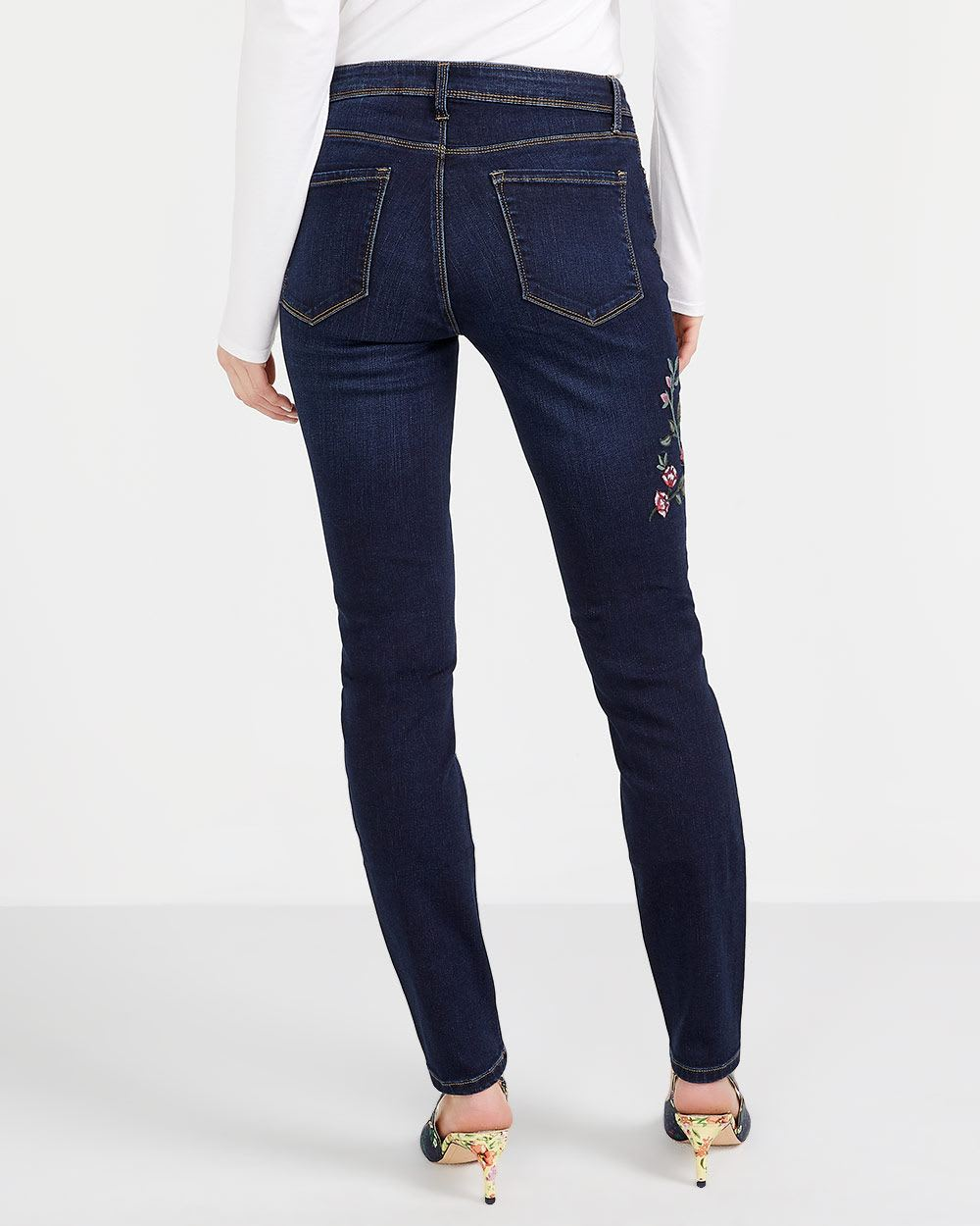 Petite Embroidered Skinny Jeans