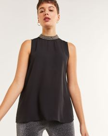 Sleeveless Embellished Mock Neck Blouse