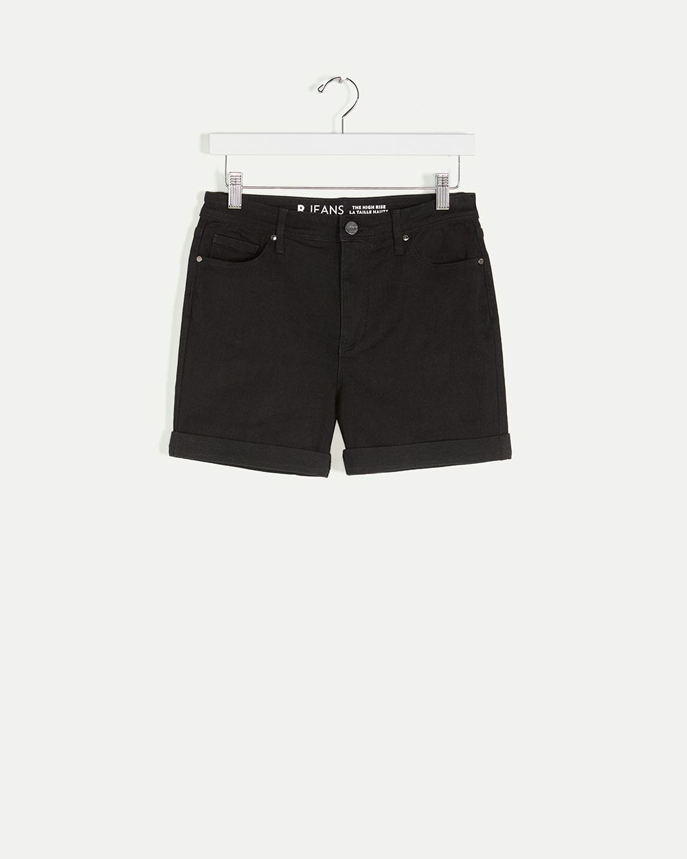 High Rise Denim Shorts with Rolled Cuffs