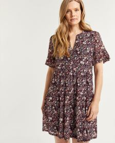 Floral Print Tiered Shift Dress