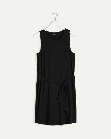 Sleeveless Scoop Neck Dress with Sash