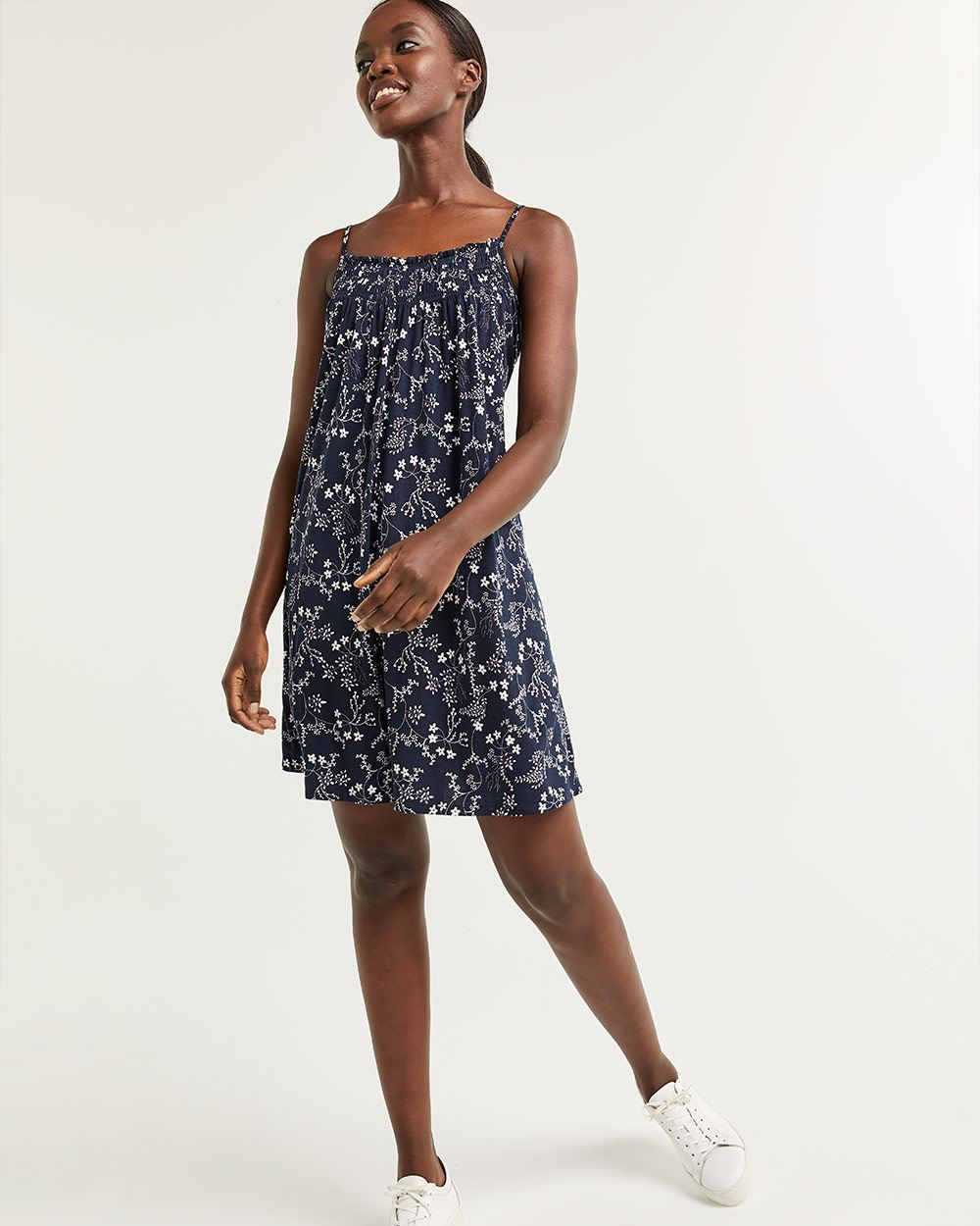 Sleeveless Printed Swing Dress with Smocking