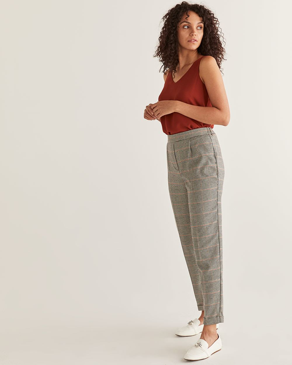 Houndstooth Pull On Peg Leg Pants - Tall