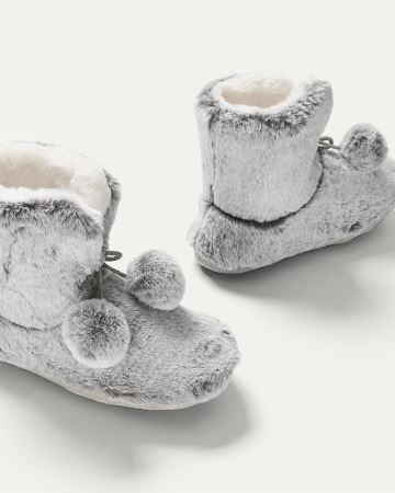 Faux Fur Bootie Slippers with Pompoms