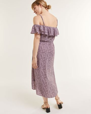 Off-The-Shoulder Printed Dress With Ruffles
