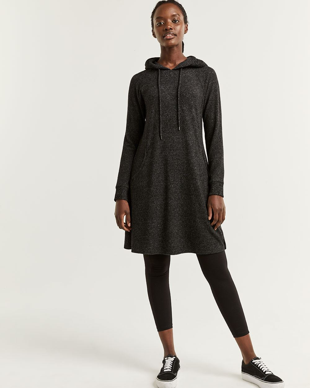 Hyba Brushed Knit A-Line Dress with Hood