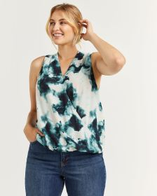 Mix Media Sleeveless Printed Wrap Top - Petite