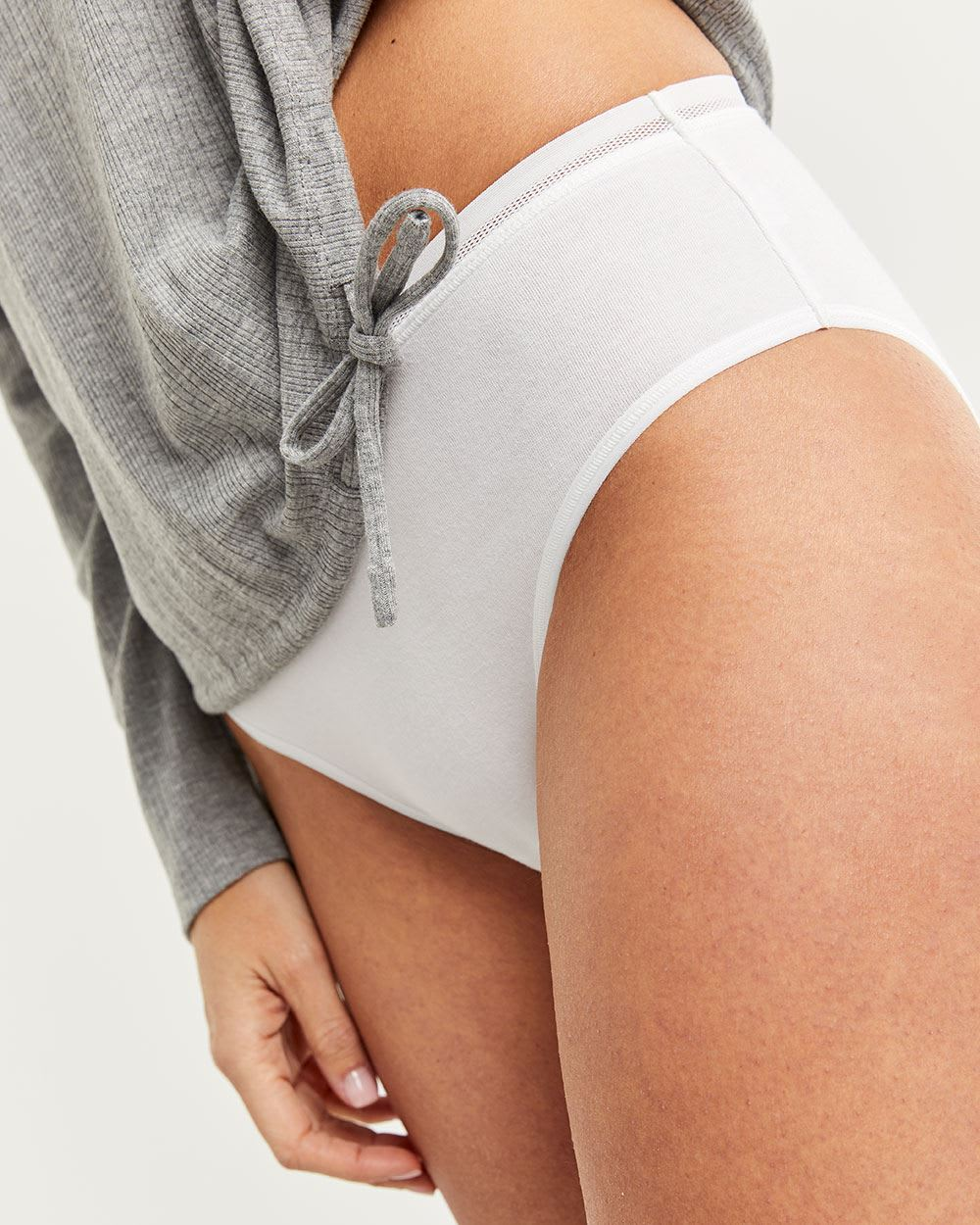 Cotton High Waist Panty with Mesh & Lace