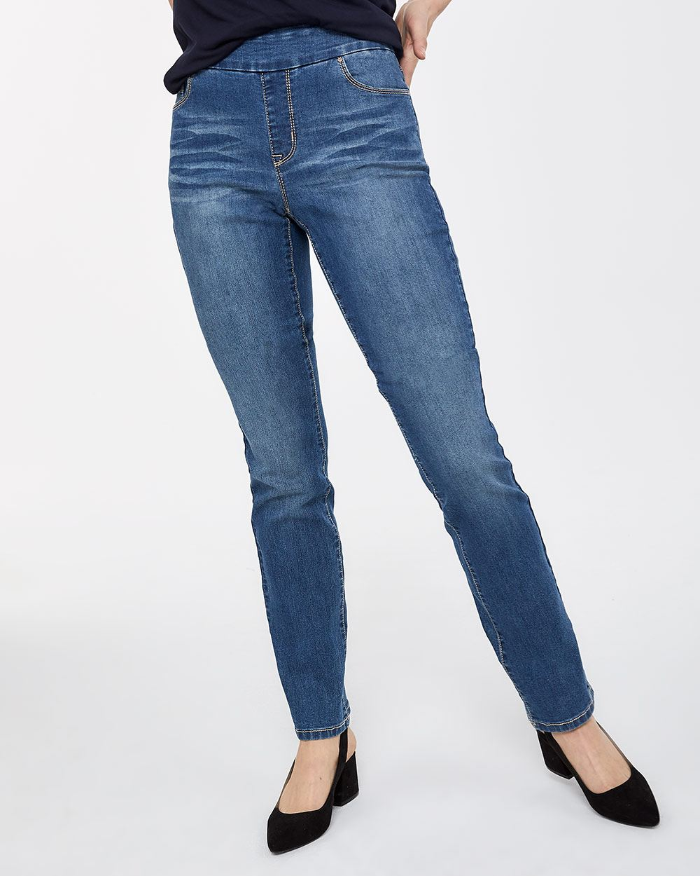 Straight Leg Pull On Jeans The Original Comfort - Petite