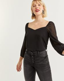 Balloon Sleeve Sweetheart Neck Blouse